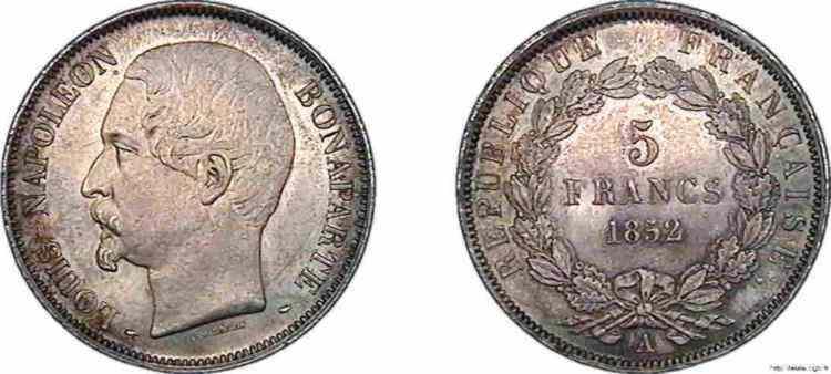 N° v10_0089 5 francs Louis-Napoléon, grosse tête, J.J. BARRE, frappe d'épreuve - 1852