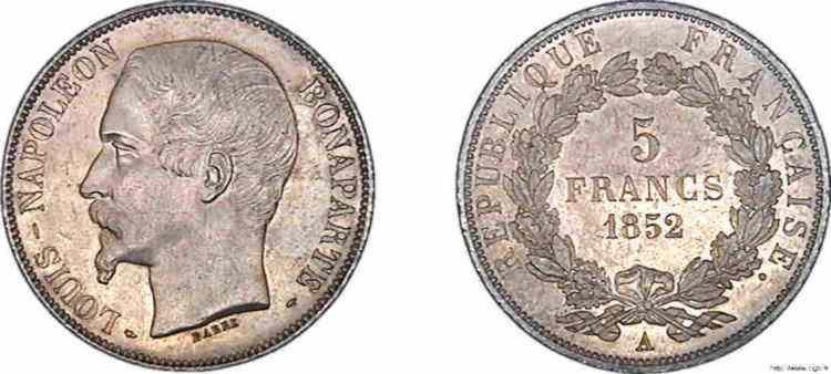 N° v10_0090 5 francs Louis-Napoléon - 1852