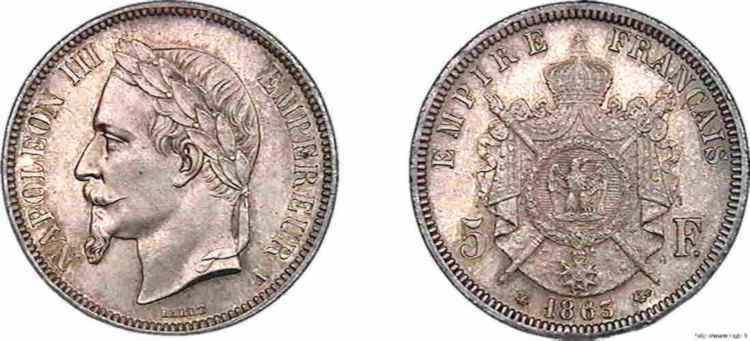 N° v10_0092 5 francs Napoléon III tête laurée - 1863