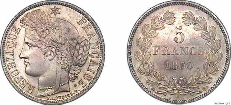 N° v10_0093 5 francs Cérès sans légende - 1870