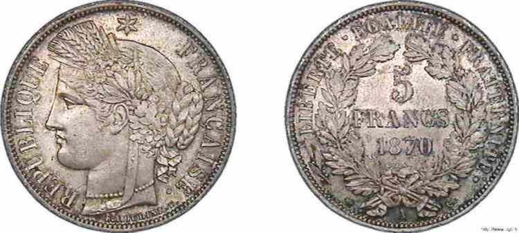 N° v10_0094 5 francs Cérès avec légende - 1870