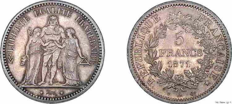N° v10_0095 5 francs de la Commune - 1871