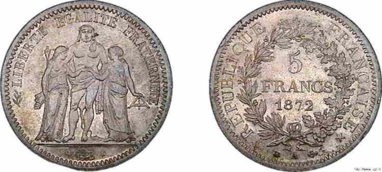 N° v10_0096 5 francs Hercule - 1872