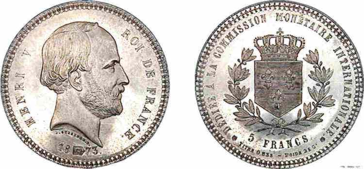 N° v10_0097 5 FRANCS HENRI V PRÉTENDANT COMMISSION MONÉTAIRE - 1873