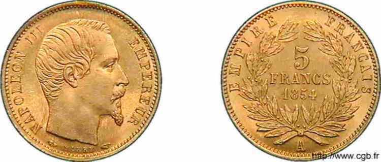 N° v10_0098 5 francs or petit module - 1854