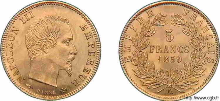 N° v10_0099 5 francs Napoléon III tête nue, grand module - 1859