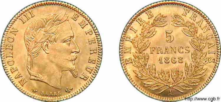 N° v10_0100 5 francs Napoléon III tête laurée - 1868