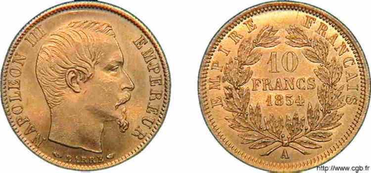 N° v10_0101 10 francs or, petit module - 1854