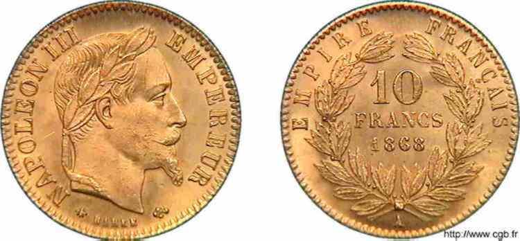 N° v10_0102 10 francs Napoléon III, tête laurée - 1868