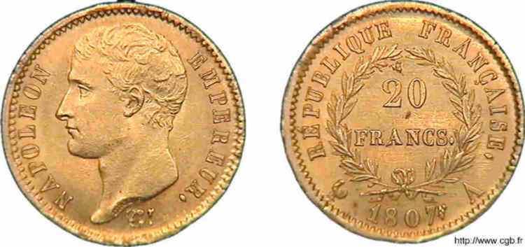 N° v10_0105 20 francs Napoléon tête nue, type transitoire - 1807