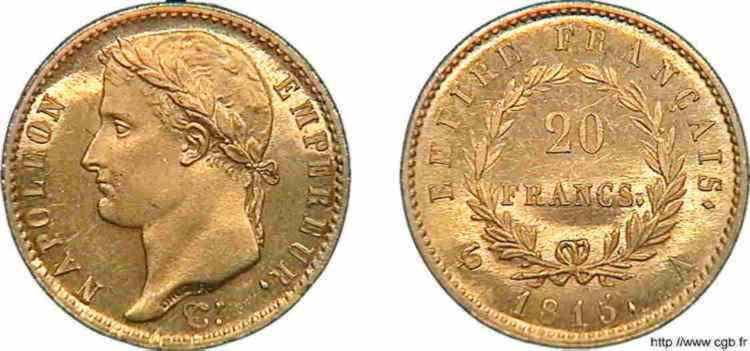 N° v10_0107 20 francs Napoléon tête laurée, Empire français, Frappe d'épreuve - 1815