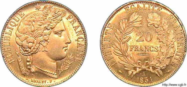 N° v10_0111 20 francs Cérès, seconde République - 1851