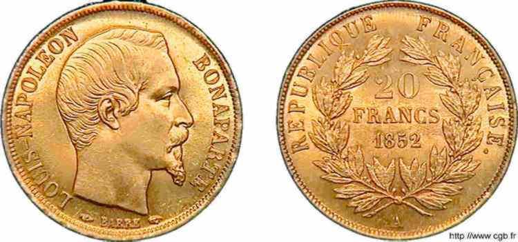N° v10_0112 20 francs Louis-Napoléon - 1852