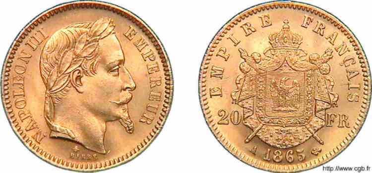 N° v10_0114 20 francs Napoléon III tête laurée - 1865