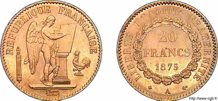 N° v10_0115 20 francs génie, troisième République - 1875
