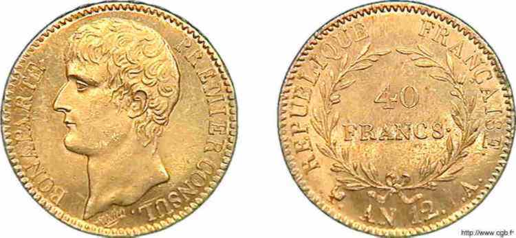 N° v10_0116 40 francs Bonaparte Premier Consul - An 12