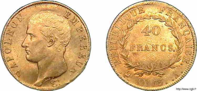 N° v10_0117 40 francs Napoléon tête nue, calendrier révolutionnaire - An 13