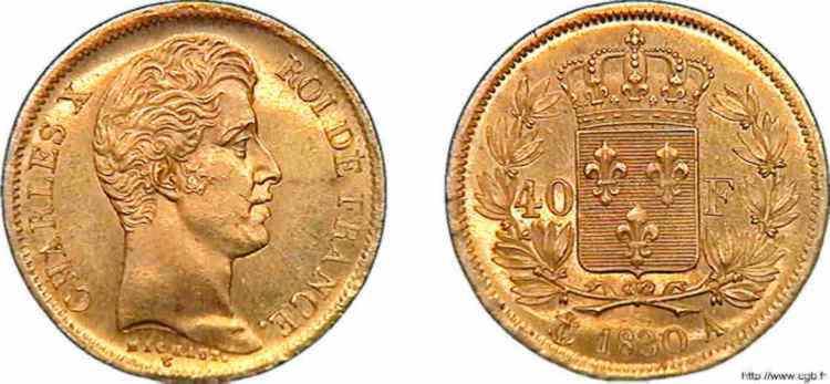 N° v10_0118 40 francs Charles X 2e type - 1830