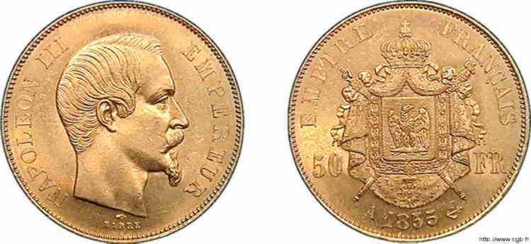 N° v10_0120 50 francs Napoléon III tête nue - 1855