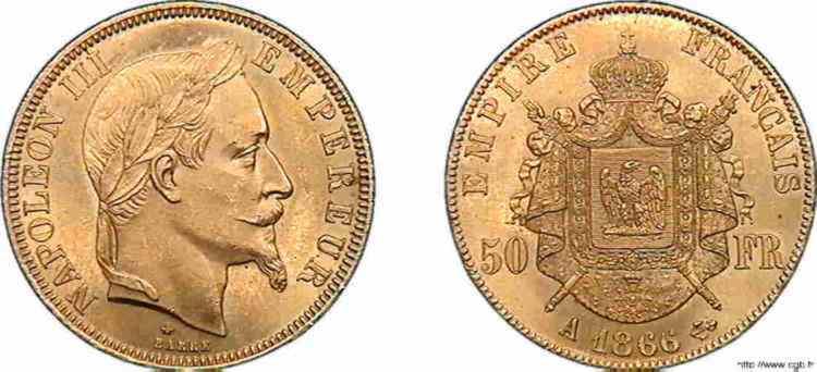 N° v10_0121 50 francs Napoléon III tête laurée - 1866