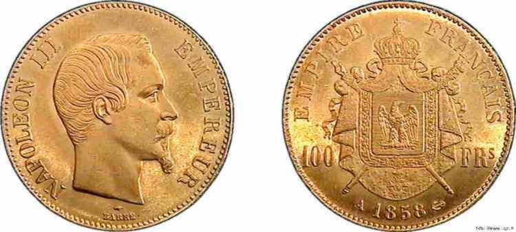 N° v10_0123 100 francs Napoléon III tête nue - 1858